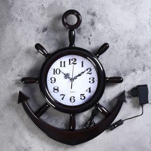 """Часы настенные, серия: Море, """"Штурвал"""", d=25 см, плавный ход, с подсветкой, 1 АА   4637259"""