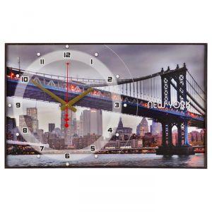 """Часы настенные, серия: Город  """"Бруклинский Мост"""", 37х60  см, микс 1301252"""