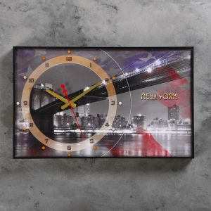 """Часы настенные, серия: Город, """"Бруклинский Мост, New York"""", 37х60  см, микс 1192857"""
