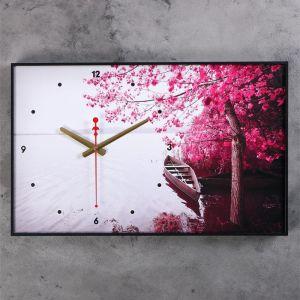 """Часы настенные, серия: Природа, """"Лодка, Фиолетовое дерево"""", 37х60 см , микс 1152328"""