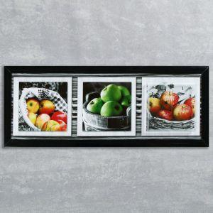 """Часы-картина настенные, серия: Кухня, """"Яблочный микс"""", 35х100  см, микс 1210501"""