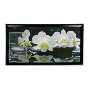 """Часы-картина настенные, серия: Цветы, """"Белые орхидеи"""", 50х100  см, микс 1541488"""