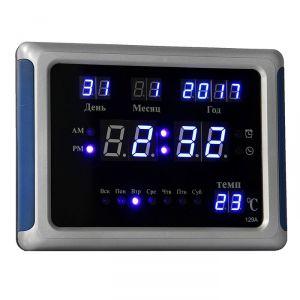 Часы настенные электронные с календарём и будильником, синие цифры, 23х5х17 см 1418795