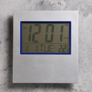 Часы настенные электронные с календарем и термометром 17.5х19 см 2590511