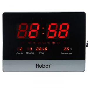 Часы настенные электронные с календарем и термометром, красные цифры, 40х30 см 2873386