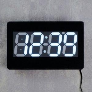 Часы настенные электронные с термометром и будильником, цифры белые, 15.5х23.5 см 1716979