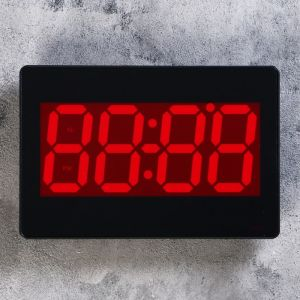 Часы настенные электронные с термометром и будильником, цифры красные 15.5х23.5 см 1302103