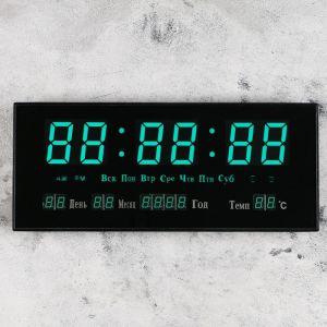 Часы настенные электронные с термометром, будильником и календарём, цифры зеленые, 15х36 см 474807