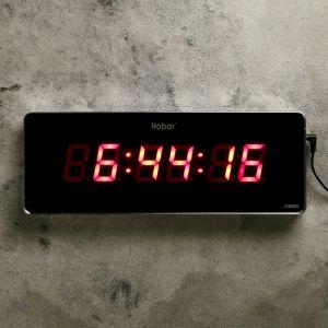 Часы настенные электронные, красные цифры, 35х3х13 см   4757211