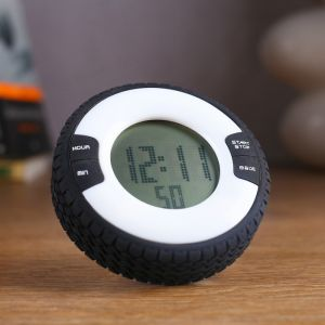 """Часы-будильник электронные """"Шина"""", с секундомером, обратный отсчёт, серые, 8х2.5 см 3244765"""