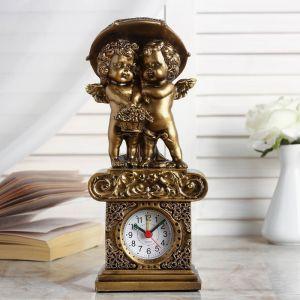 """Часы настольные """"Ангелы под зонтом"""", цвет золото,  h=26 см  микс 3940706"""