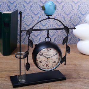 """Часы настольные """"Воробушек"""", с подсветкой, d=8 см, 25х30 см   4412731"""
