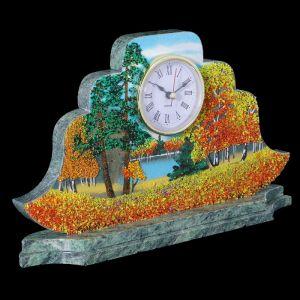 "Часы ""Наполеон. Осень"" 27х15х4 см, каменная крошка, змеевик 1197033"