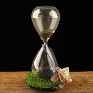 """Часы песочные """"Елисейские поля"""", чёрный магнитный песок, 8х16 см 864007"""