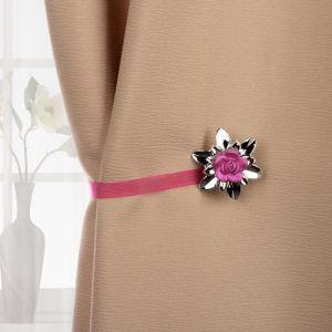 Подхват для штор «Цветок роза», d = 6 см, цвет розовый