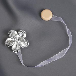 Подхват для штор «Цветок ромашка», d = 5,5 см, цвет серебряный