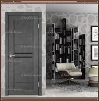 Межкомнатная дверь NEXT 2 Муар тёмно-серый, стекло - ЛАКОБЕЛЬ Чёрное :