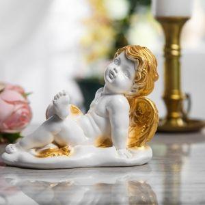 """Статуэтка """"Ангел лежащий"""", бело-золотая, 12 см"""