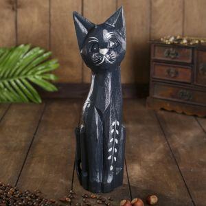 """Сувенир дерево """"Кошка черная с веточкой"""" 4,5х9х30 см   4165562"""