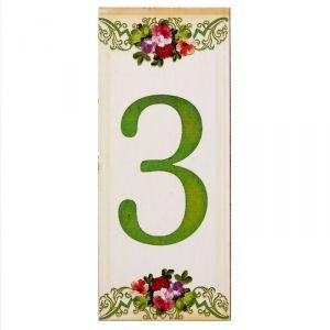 """Цифра дверная из дерева """"3"""", цветочный стиль, 3*7 см   2190118"""