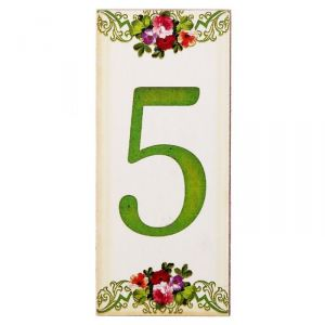 """Цифра дверная из дерева """"5"""", цветочный стиль, 3*7 см   2190120"""
