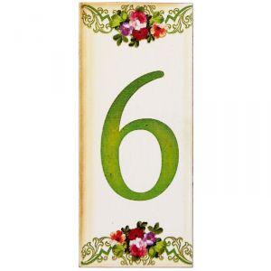 """Цифра дверная из дерева """"6"""", цветочный стиль, 3*7 см   2190121"""