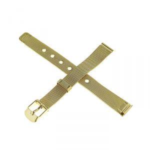 Ремешок для часов 12 мм, металл, протектор плетёнка, золотой, 18 см 1723650