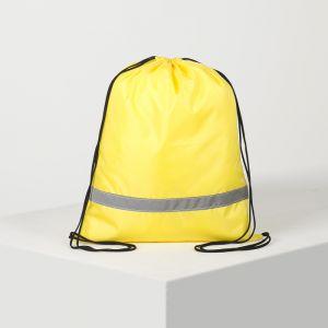 Сумка для обуви, отдел на шнурке, светоотражающая полоса, цвет жёлтый