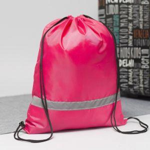 Мешок для обуви, отдел на шнурке, светоотражающая полоса, цвет розовый