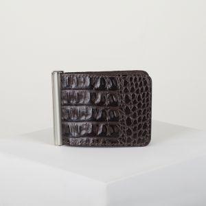 Зажим для купюр с металлическим держателем, цвет коричневый