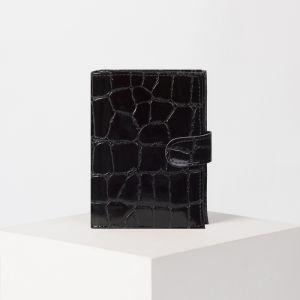 Обложка для автодокументов и паспорта, с хлястиком, скат, цвет чёрный