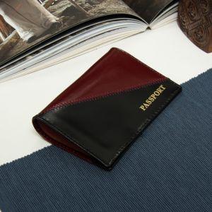 Обложка для паспорта, шик, цвет чёрный/вишнёвый