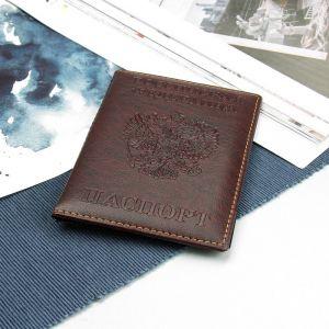 Обложка для паспорта, прошитый, герб, цвет коричневый