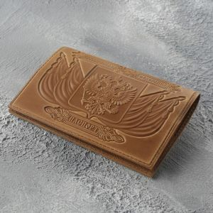 Обложка для паспорта, Герб+ корона, цвет светло-коричневый