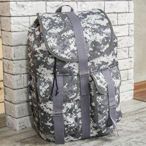 Рюкзак туристический, 55 л, отдел на шнурке, 3 наружных кармана, цвет серый/камуфляж