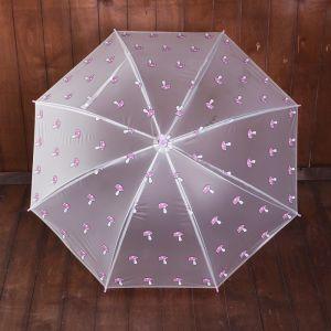Зонт детский «Грибочки», полуавтоматический, r=45см, цвет прозрачный/розовый/голубой