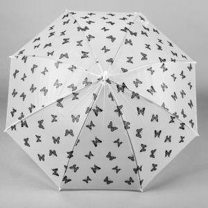 Зонт детский «Бабочки», черно-белый , d=90 см