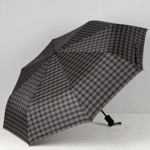 Зонт автоматический «Клетка», 3 сложения, 8 спиц, R = 51, цвет чёрный