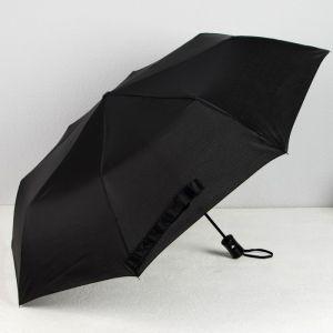 Зонт полуавтоматический «Однотонный», 3 сложения, 8 спиц, R = 48 см, цвет чёрный
