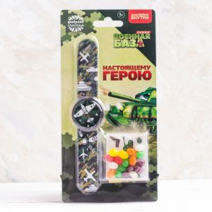Набор «Настоящему герою»: часы, наклейки, конфеты 20 г 3812119