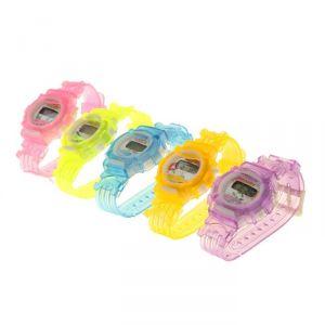 Часы наручные детские электронные, ремешок силикон, на циферблате цветы, микс 1197090