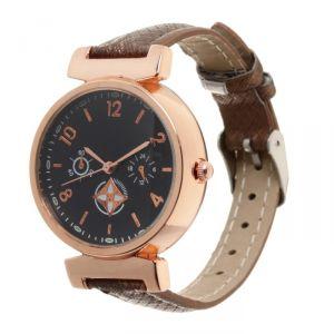 Часы наручные, d=3,5см золотые,коричневый ремешок 12мм 3621015