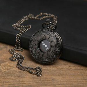 """Часы карманные """"Бонжур"""", кварцевые, на цепочке, чёрный циферблат, хром, d=4.5 см 3572452"""