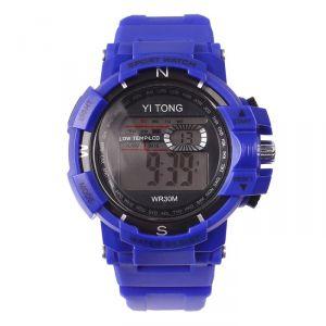 """Часы наручные """"Кретчер"""", электронные, с силиконовым ремешком, l=23 см, синие   4447476"""