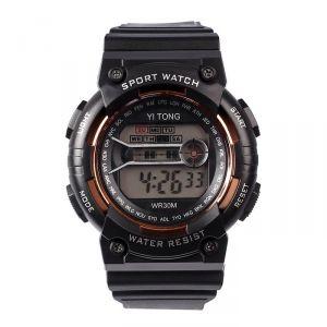 """Часы наручные """"Кретчер"""", электронные, с силиконовым ремешком, l=23 см, черные   4447477"""