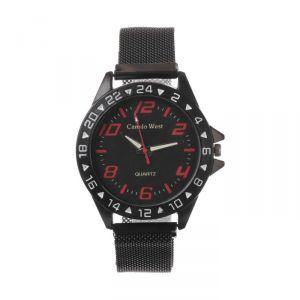 """Часы наручные """"Пальмира"""", кварцевые, l=23 см, d=4.5 см, циферблат чёрный, ремешок на магните   47315"""