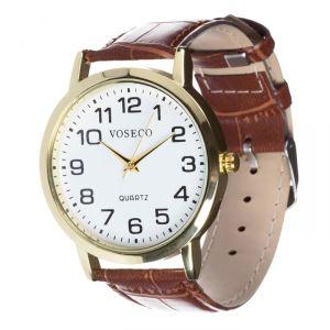 """Часы наручные """"Парраль"""", хром, коричневый ремешок,  d=4 см 3621008"""