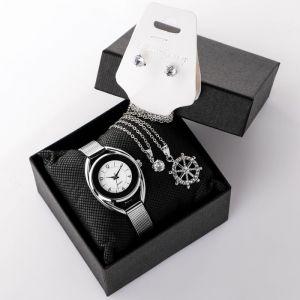 """Подарочный набор 3 в 1 """"Соррас"""": наручные часы, кулон """"штурвал""""и серьги   4508114"""