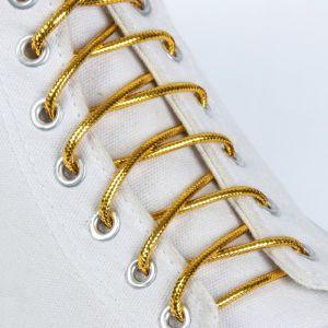 Шнурки для обуви, пара, круглые, металлизированные, d = 4 мм, 140 см, цвет золотой