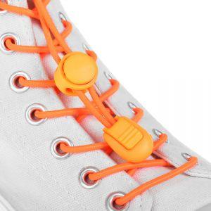Шнурки для обуви, пара, круглые, с фиксатором, эластичные, d = 3 мм, 100 см, цвет оранжевый неоновый